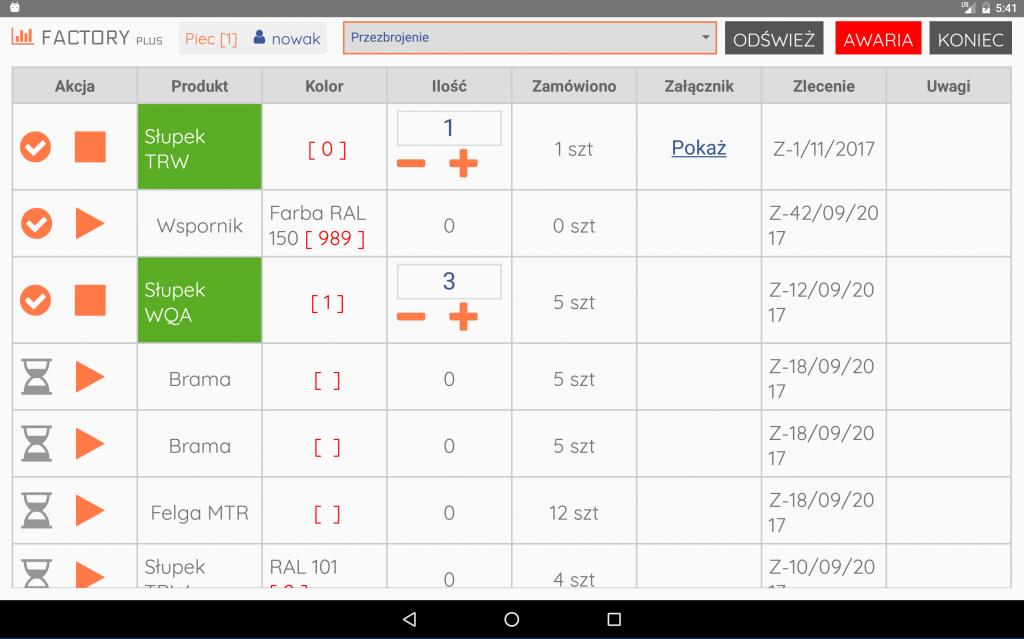 panel zleceń w aplikacji do planowania produkcji