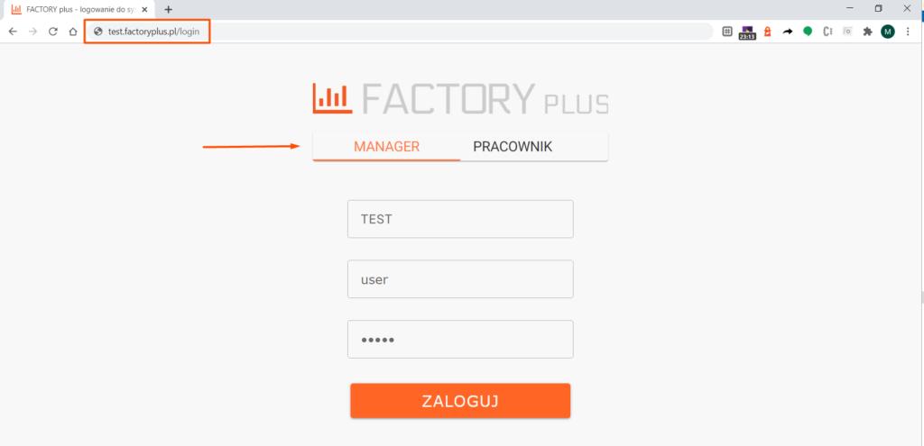 Logowanie do aplikacji Factory plus